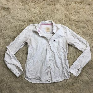 Hollister white button down long sleeve top